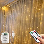 Fairy Curtain String Lights- 3M*1.5M USB Operated Or Battery Powered String Lights,200Led Window Lights with Remote &Timer /8Modes Fariy Lights for Bedroom Dorm Wall Party Wedding