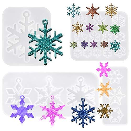 FineGood - 4 pezzi Stampi in resina Stampo in resina in silicone, fiocco di neve Stampo in resina epossidica per colata Natale