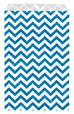 200 pcs Blue Chevron Paper Gift Bags Shopping Sales Tote Bags 6' x 9' Zig Zag Design-Caddy Bay Collection
