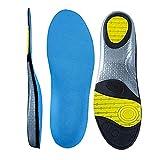 MUOU Sneaker Einlegesohlen Fußbett Dämpfung Schuheinlagen Arbeitsschuhe Gel Sohle Einlage Sporteinlegesohlen gegen Schweiss für Damen und Herren (XXL=44EU/45EU, Blau)