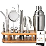 Cocktail Making Set, 18 Pieces Cocktail Shaker Set 750ml Stainless Steel Bar Tool Set, Bartender Kit with Display Stand