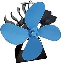 FLAMEER Ventilador de Estufa de 4 aspas accionado por Calor para Quemador de leña, Quemador de leña, Chimenea, sin Necesidad de Electricidad - Azul