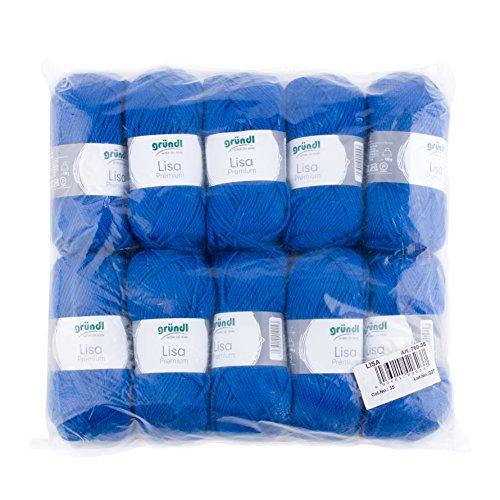Gründl Lisa Premium Wolle, Polyacryl, royalblau, 34 x 31 x 8 cm, 10er Pack