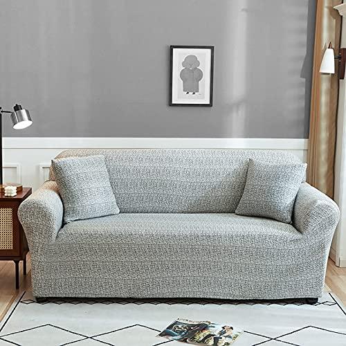 WXQY Nachahmung Leinenmuster elastischer Sofabezug Wohnzimmer elastischer Sofabezug Sessel Möbelschutzbezug A12 2 Sitzer