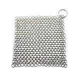 Gobesty Scrubber per cotta di maglia in acciaio inossidabile, pulitore per catene in ghisa, pulitore per cotta di ghisa 7 x 7 pollici con anello per appendere, non arrugginisce come lana dacciaio