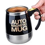 Alinshi Auto Magnetic Mug - Electric Self Stirring Coffee / Mixing Cup for Coffee / Tea / Hot Chocolate, 450ml / 15.2oz, - Black
