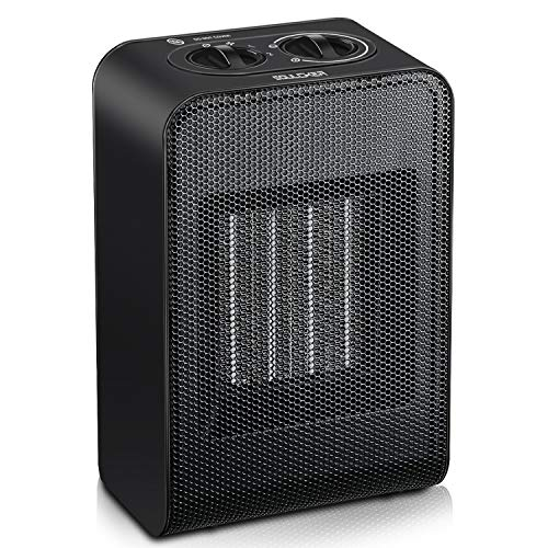 Soulcker Space Heater, Portable Heater With 750W/1500W Power Setting, 2 Seconds Heat-up, Tip-over and Over-heat Protection, Ceramic Small Space Heater for Office, Home, Indoor Use - Black
