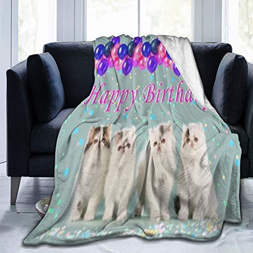 Manta de cuatro gatitos persas en una fila con cartel de feliz cumpleaños para cocina, dormitorio, sala de estar, dormitorio, ropa de cama colgante