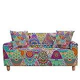 ASCV Funda de sofá elástica para Sala de Estar 3D Mandala de Flores étnicas Cojines Bohemios Fundas de Muebles de sillón Universal A7 3 plazas