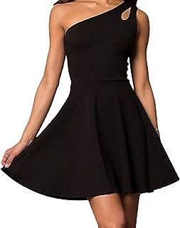 0a5588afe Cheryl Creations Women's One Shoulder Comfortable Day/Night Skater Mini  Dress | Asymmetrical Teardrop Cutout