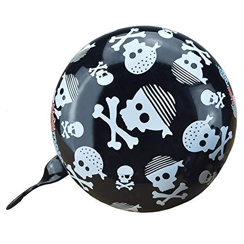 KIDDIMOTO Glocke Design Klingel/Fahrradklingel zubehör Fahrrad, Roller, Kinderroller Kinderfahrrad & Laufrad - Skullz (Klein)- 58mm - 3