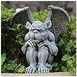 Crazyfly Esculturas de guardián de jardín de la estatua de resina, figura gárgola gótica medieval,Esculturas de guardián de jardín interior al aire libre jardín decoración estatua