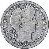 1907 D Barber Quarter 90% Silver Seller Good
