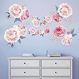 decalmile Wandtattoo Blumen Rosa Rosen Wandsticker Wohnzimmer Schlafzimmer Wanddeko (1 Pack)