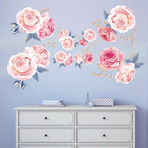 decalmile Pink Rose Wall Stickers Removable Flower Wall Decals Bedroom Living Room Wall Art Decor (1 Pack)