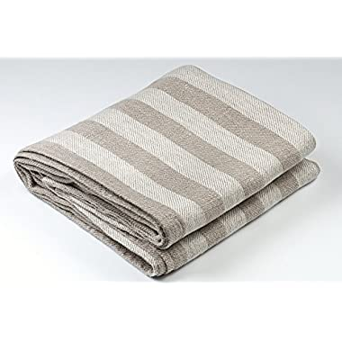 BLESS LINEN Jacquard Striped Pure Linen Bath Towel, 30 x 58 Inches, Grey/White