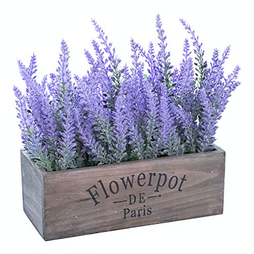 Butterfly Craze Artificial Lavender Plants in Large Rectangular Box Pot – Lifelike Faux Silk Flower Arrangement – Wedding Table Centerpiece or Rustic Home Decor for Kitchen, Office & Beyond