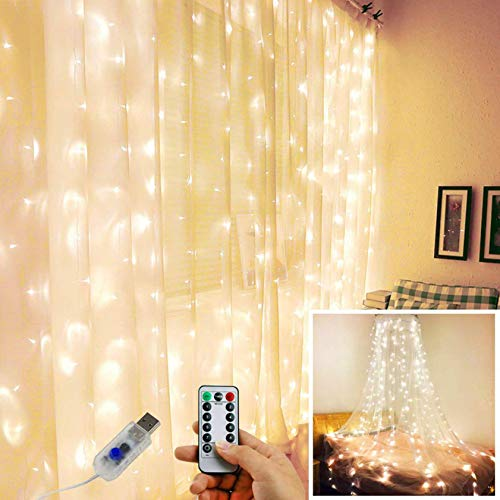 Curtain Lights For Bedroom, Curtain Fairy Lights 8 Modes Available, 300 LED Curtain Lights With Remote Control, Warm White Lights For Indoor Outdoor, Bedroom Party Wedding Home Garden Wall
