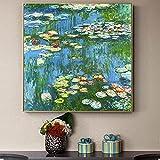 ZHJJD Arte de la Pared de Claude Monet Famosos Lirios de Agua Pintura en Lienzo Poster de Monet Impr...