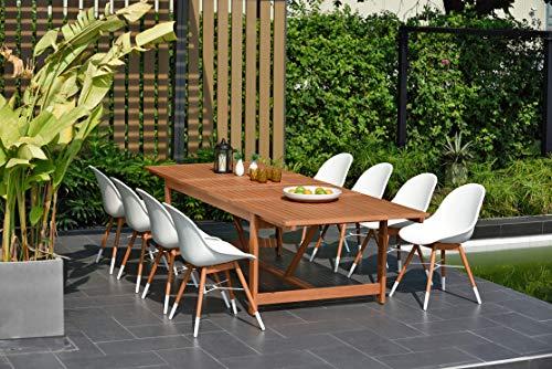 Brampton 9 Piece Outdoor Eucalyptus Extendable Dining Set   Perfect for Patio   with Teak Finish