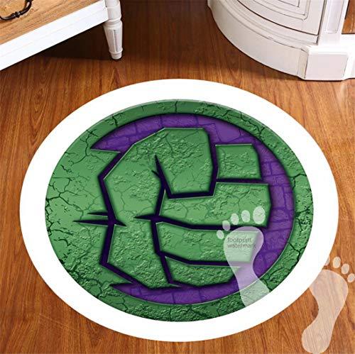 ROOMBADHL Alfombrillas redondas de baño para decoración de baño con respaldo antideslizante, para suelos, ducha, cocina, alfombra de franela de 20 pulgadas, Marvel The Hulk Icon