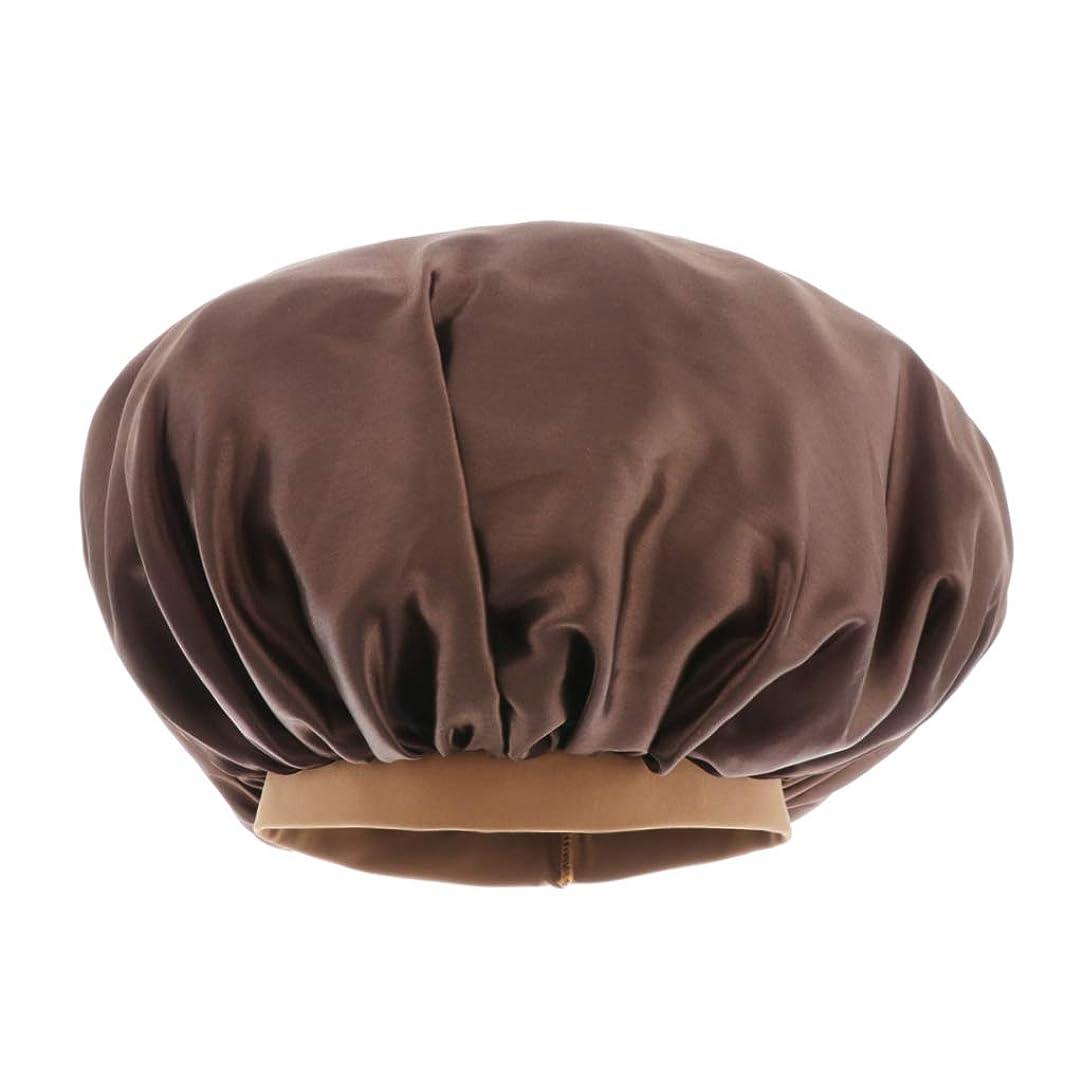 発生器ハッチ意外入浴キャップ 美容 キャップ スリープキャップ 調節可能な サテン 通気性 全6色 - コーヒー