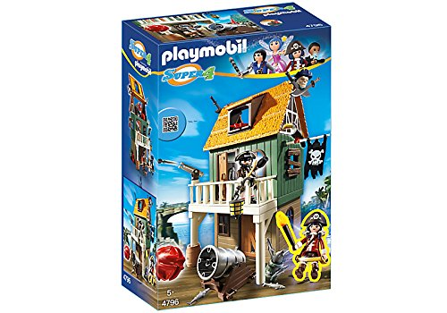 PLAYMOBIL SUPER 4 Camouflage Pirate Fort with Ruby Kinder Baukasten – -Spiele Bau (mehrfarbig)