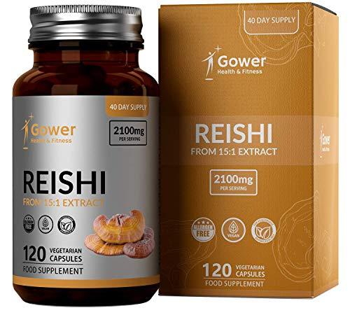 GH Reishi Kapseln aus 15:1 Extrakt | 120 Vegane Reishi Extrakt Kapseln | 2100mg pro Portion | Pilz-Ergänzungsmittel | Hergestellt in ISO-Zertifizierten Betrieben | Gentechnik-, Milch- & Glutenfrei