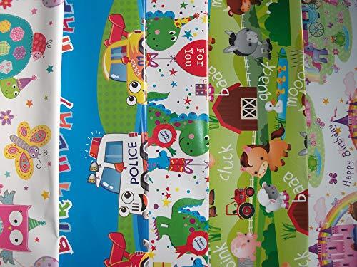 Geschenkpapier für Kinder, Tiere, Prinzessin, Auto, Dinosaurier, Schmetterling, 10 Blatt