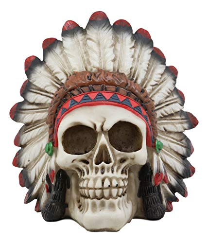 Ebros Native American Indian Eagle Chief Skull Statue 5.75' Long Tribal Mohawk Warrior Gothic Skulls with Roach Headdress Figurine Day of The Dead Graveyard Ossuary Spooky Decor