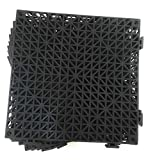 Set of 9 Interlocking Black Floor Tiles- 11.5 inches Each Side - Non-Slip Tread - Wet Areas Like Pool Shower Locker-Room Bathroom Deck Patio Garage Boat. Can be Cut to fit - FoghornConstruction