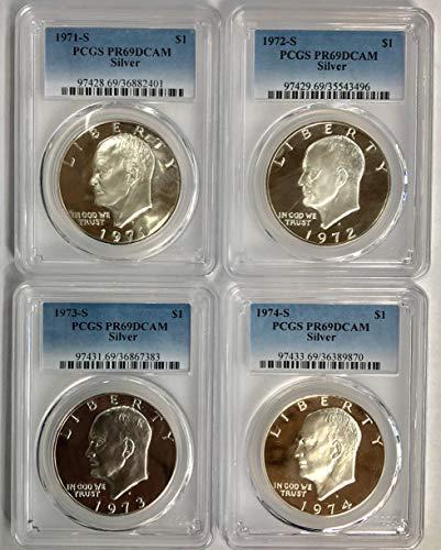 1971 S 1972 S 1973 S 1974 S Silver Eisenhower Ike Dollar 4 Coin Set PR69DCAM