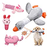 Feeko Squeaky Plush Dog Toy 4 Pack for Puppy, Small Stuffed Puppy Chew Toys Pack with Squeakers, Cute Soft Interactive and Durable Pet Teething Toys for Small Dogs, Non-Toxic and Safe Chew Toys