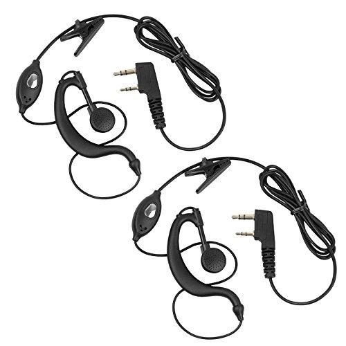 Neoteck Walkie-Talkie-Kopfhörer, Zwei Stück; Zweiwege Funk-Hörmuschel-Headset mit Mikrofon für BF888S UV-5R und andere Funkgeräte mit 2-poligem Mikrofon-Anschluss