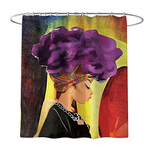 Wifehelper Duschvorhang & wasserdicht rutschfeste Bad Vorhang und Matte Teppich Set afrikanische Mädchen für Badezimmer Kunst Dekoration (Duschvorhang)