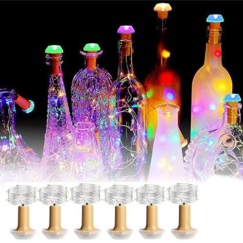 Kerstmis van de LED-lichtstrip 6 stuks 1 stuks solar powered koperen fles kurk LED-draad Fata Party lichtketting buitenverlichting lichte snoer (grootte: 1 stuks) Soul hi