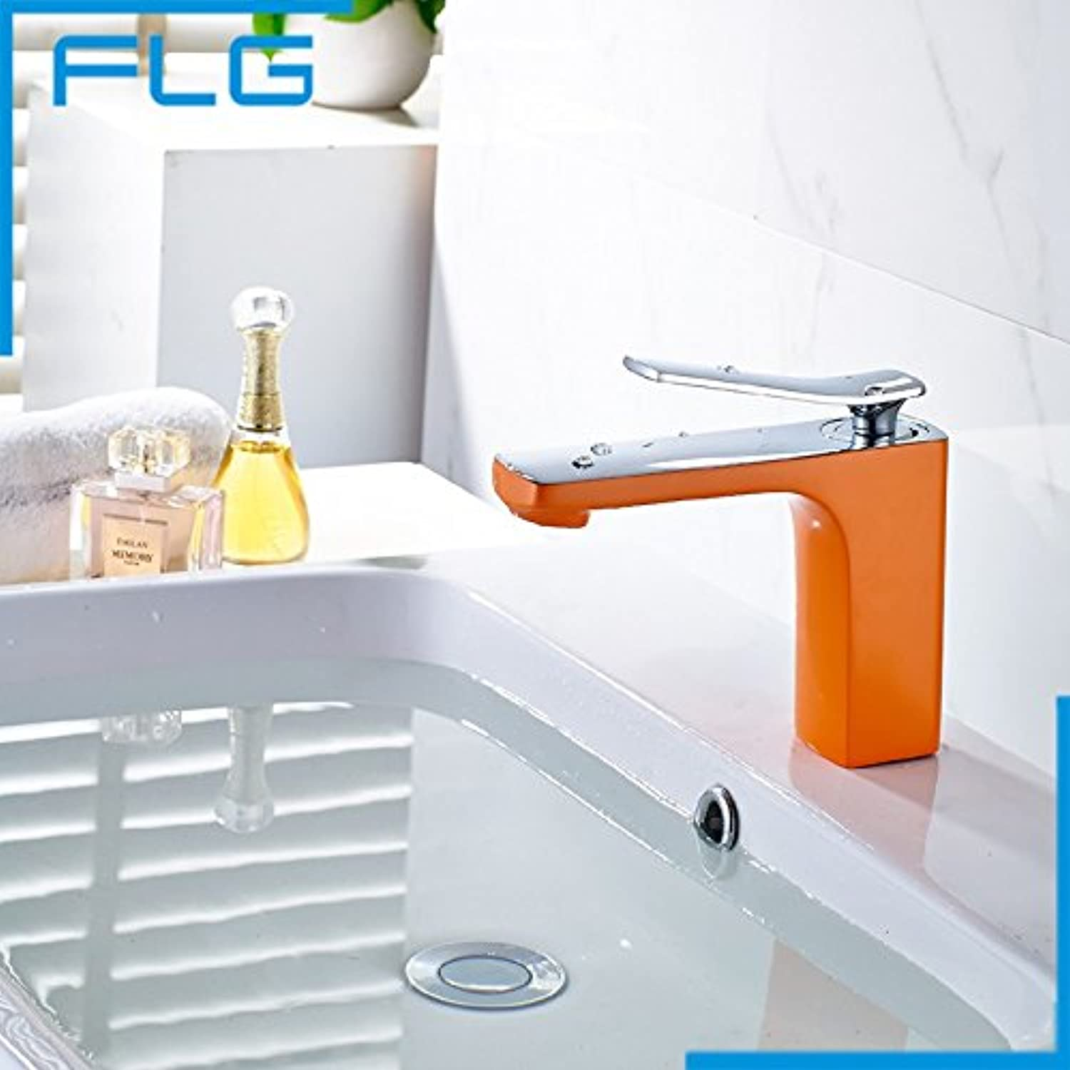 Maifeini Modern New Bathroom Deck orange Colour Finished Basin Faucet Single Handle Sink Tap,orange