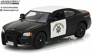 2008 Dodge Charger Police Interceptor Car California Highway Patrol, Black w/White - Greenlight 86087 - 1/43 Scale Diecast Model Toy Car
