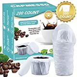 CAPMESSO Disposable Coffee Filters with Lid Keurig Paper Filter for Reusable Single Serve Pods Compatible with Keurig 2.0 & 1.0 Coffee Maker (White, 200)