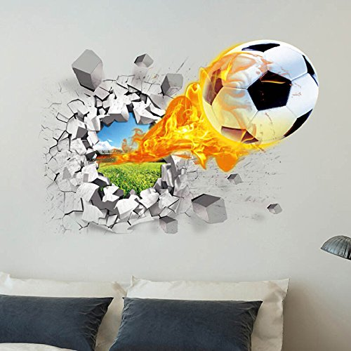 Wall Sticker 3D-Basketball Fußball Wand Aufkleber Hintergrund Aufkleber Wand dekoriert Kinder 50 * 70 cm
