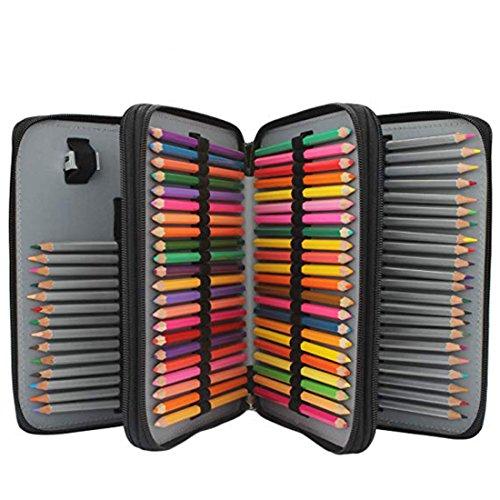 Soucolor 120-Slots PU Leather Pencil Case with Zipper, Black