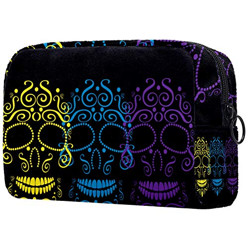 Cosmetic Bag Womens Waterproof Makeup Bag for Travel to Carry Cosmetics Change Keys etc Yellow Blue Candy Skulls