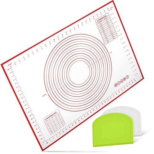 Yosemy Silikon Backmatte mit Messung 70x50cm Groß Backunterlage rutschfeste Baking Mat Antihafte Teigmatte mit 2stk Teigschaberkarte für Fondant Pizza Gebäck Brot,BPA Frei