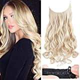 REECHO Halo Hair Extensions with Invisible Transparent Wire Adjustable Size Removable Secure Clips in Curly Wavy Hidden Crown Secret Hairpiece for Women 20 Inch - Cool Light Blonde