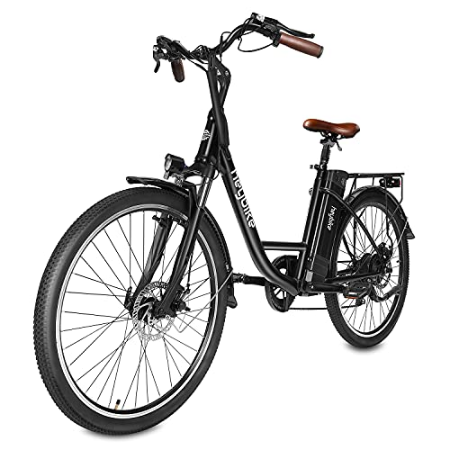 """Heybike Cityscape Electric Bike 350W Electric City Cruiser Bicycle-Up to 40 Miles- Removable Battery, Shimano 7-Speed and Dual Shock Absorber, 26"""" Electric Commuter Bike for Adults (Black)"""