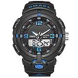 JTTM Reloj Deportivo De Energía Solar De Multifunción Dual Tiempo Pulsera Digital De Silicona Batería Integrada Impermeable De 50M para Actividad Deportes Exteriores para Hombre,Black Blue