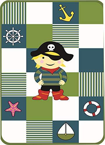 Decke Kinderdecke Spieldecke Kuscheldecke Wohndecke Pirat in Türkis Weiss Rot Schwarz Grün Blau Bunt Größe 155x215 cm