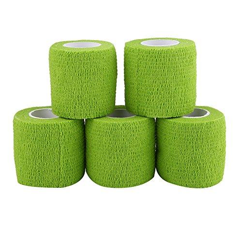 5 Rollen/Set selbstklebendes Bandageband, wasserdicht, haftende Stick-Bandage, selbsthaftende Rolle, Stretch-Tape für Knöchelverstauchungen und Schwellungen (grün)