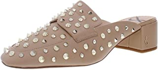 Sam Edelman Womens Agustus Leather Studded Mules Beige 6.5 Medium (B,M)