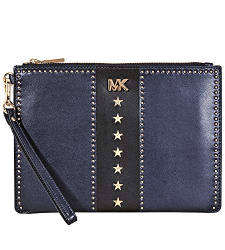 Made of leather with studs detail; Hardware band-name letter on front Top zip with strap for closure; 1 open pocket; 6 credit card slots Gold hardware Measurements: Length: 9.5 x Height: 6.5 x Width: 0.25 Inches Comes with original tags